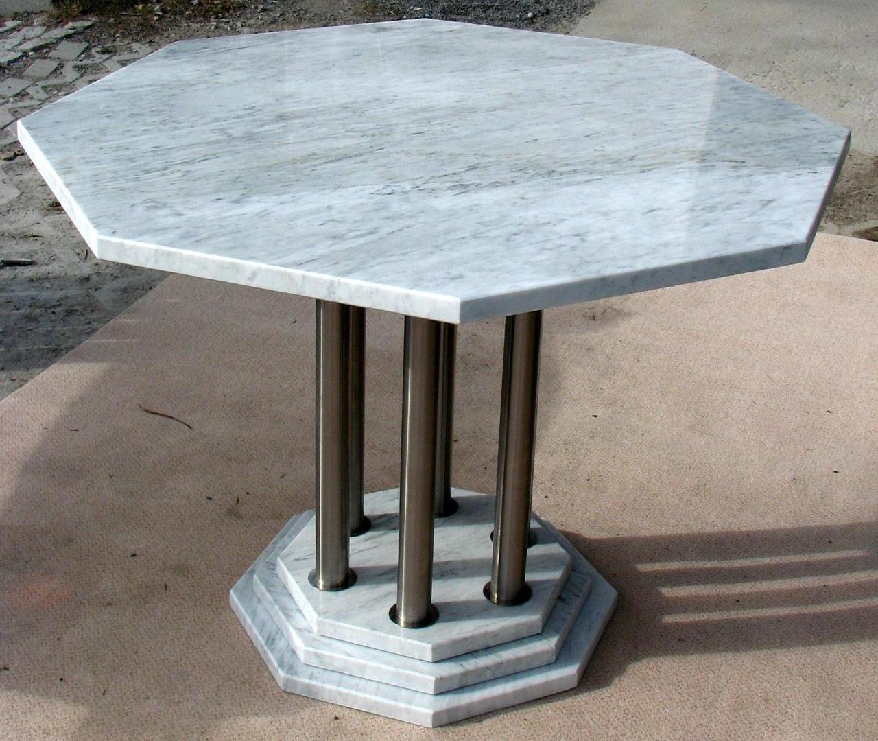 Bild achteckiger tisch in edelstahl marmor weiss for Gartentisch marmor