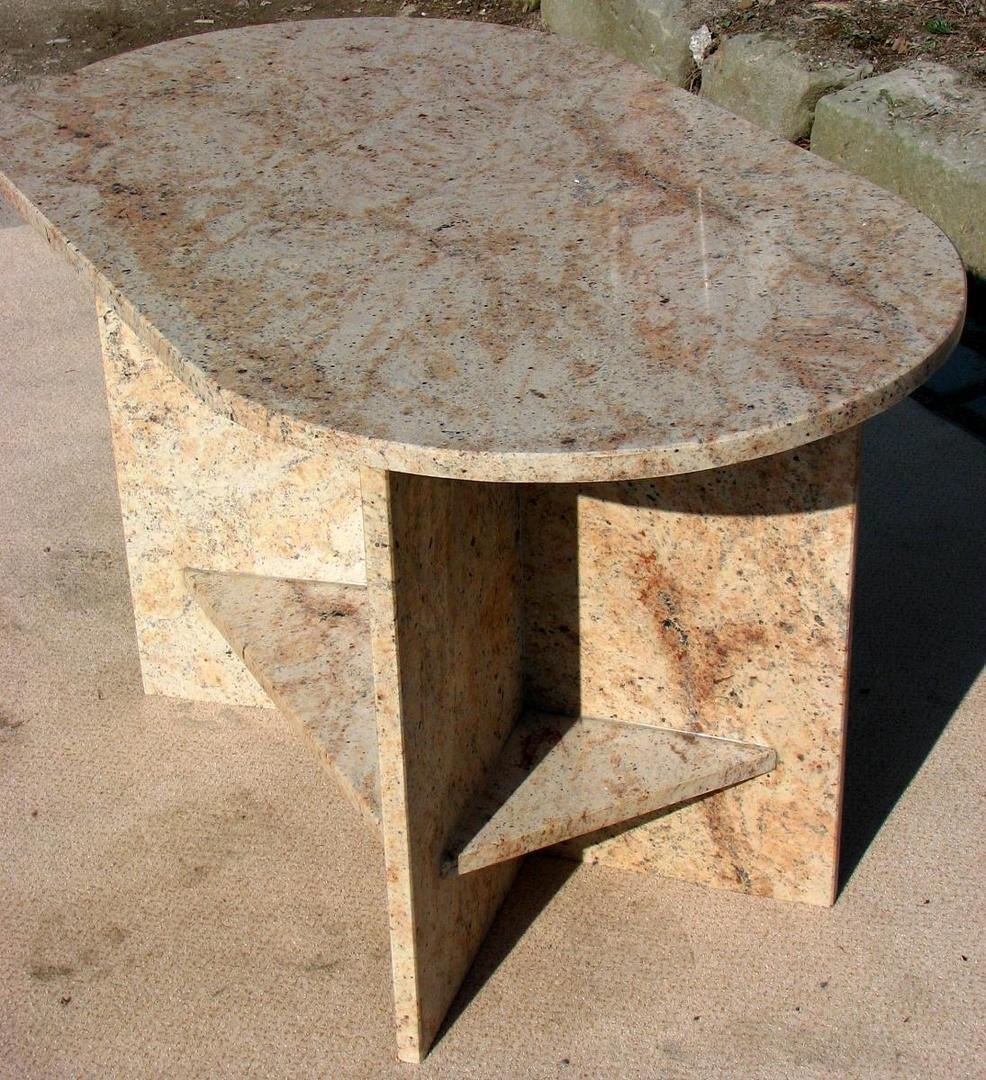 Bild Couchtisch Naturstein Oval Mit Ablagen
