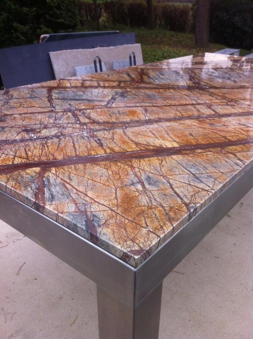 Bild edler esstisch wohnzimmertisch in marmor rainforest for Marmor wohnzimmertisch
