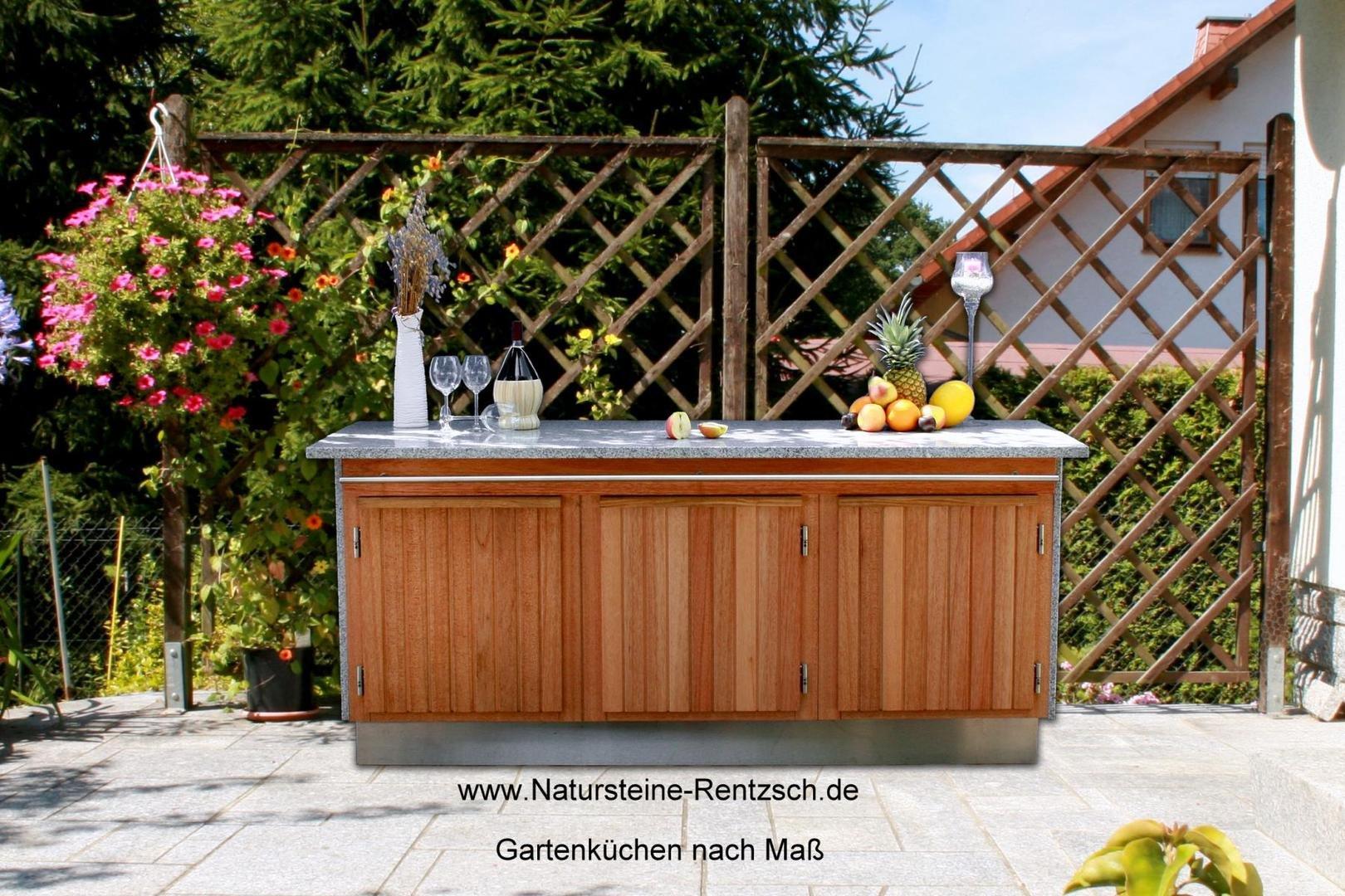 bild gartenk chen terrassenk chen in naturstein nach ma. Black Bedroom Furniture Sets. Home Design Ideas