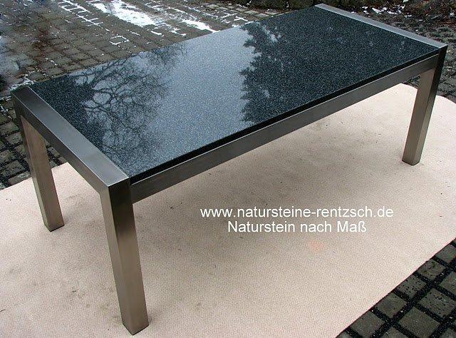 Bild gartentisch esstisch naturstein edelstahl for Esstisch mit granitplatte