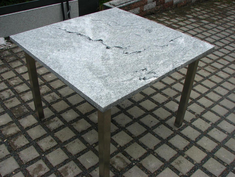 Bild k chentisch terrassentisch granit viskont white for Terrassentisch granit