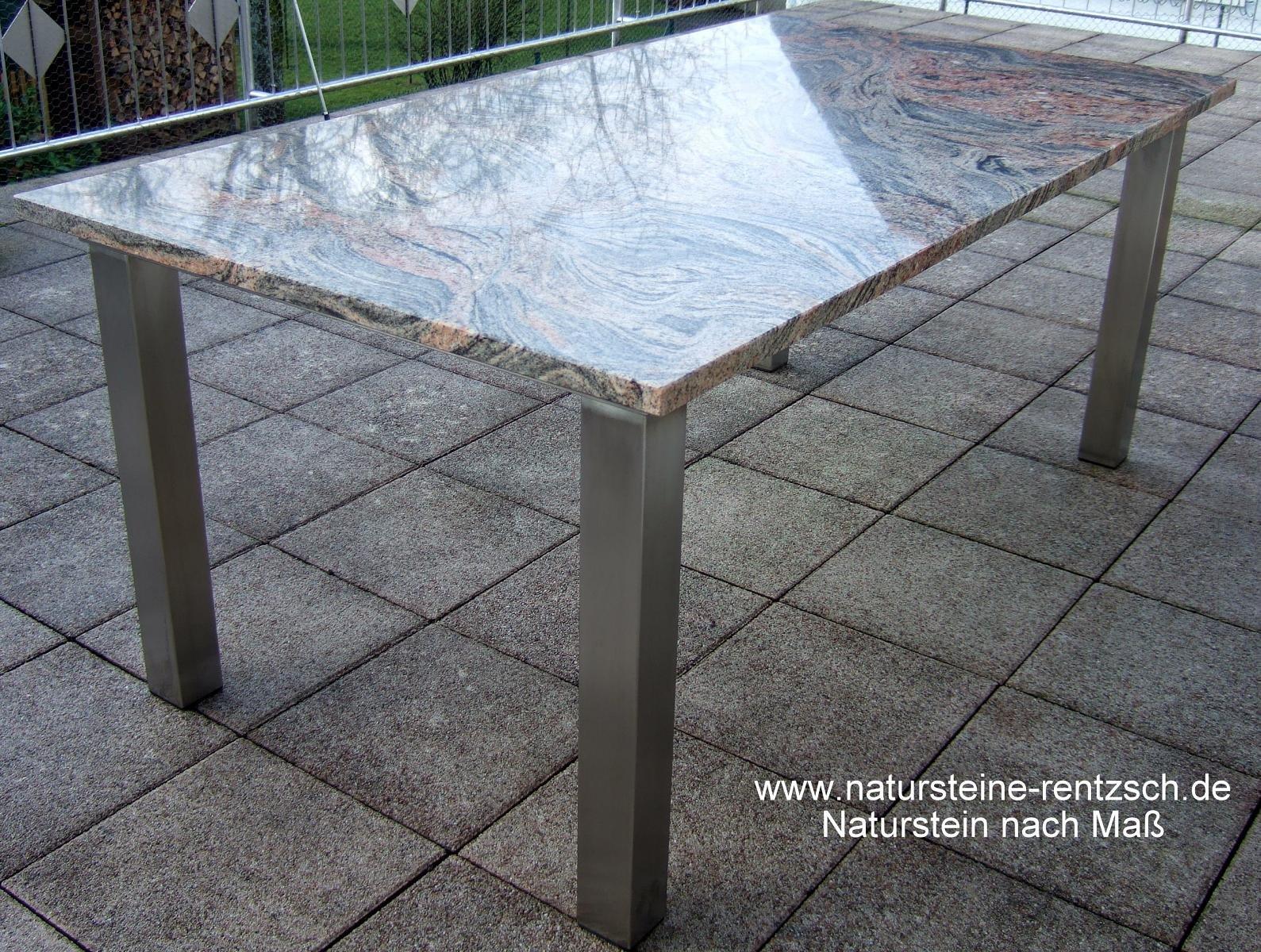 Bild ma gefertigter tisch granit juparana edelstahl for Terrassentisch granit